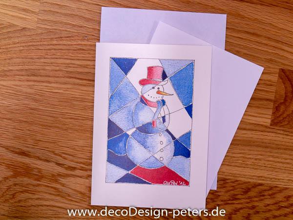 """Weihnachtskarte """"Schneemann II"""" (c)decoDesign-peters"""
