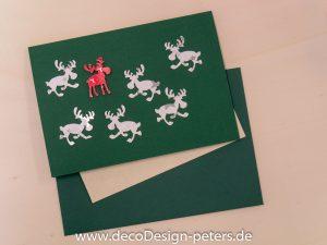 """Weihnachtskarte """"Elche"""" grün (c)decoDesign-peters"""
