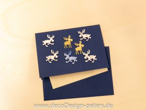 "Weihnachtskarte ""Elche"" blau (c)decoDesign-peters"