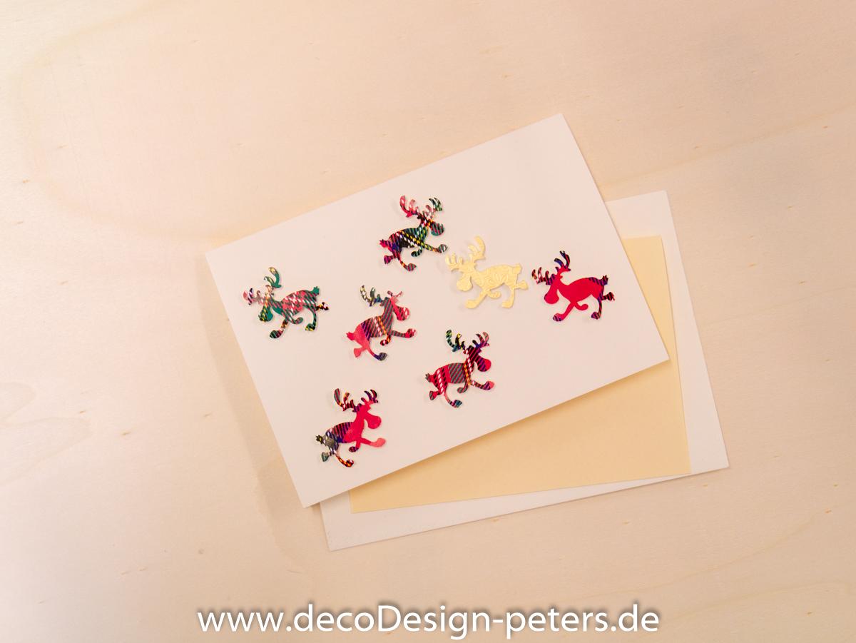 """Weihnachtskarte """"Elche"""" weiß(c)decoDesign-peters"""