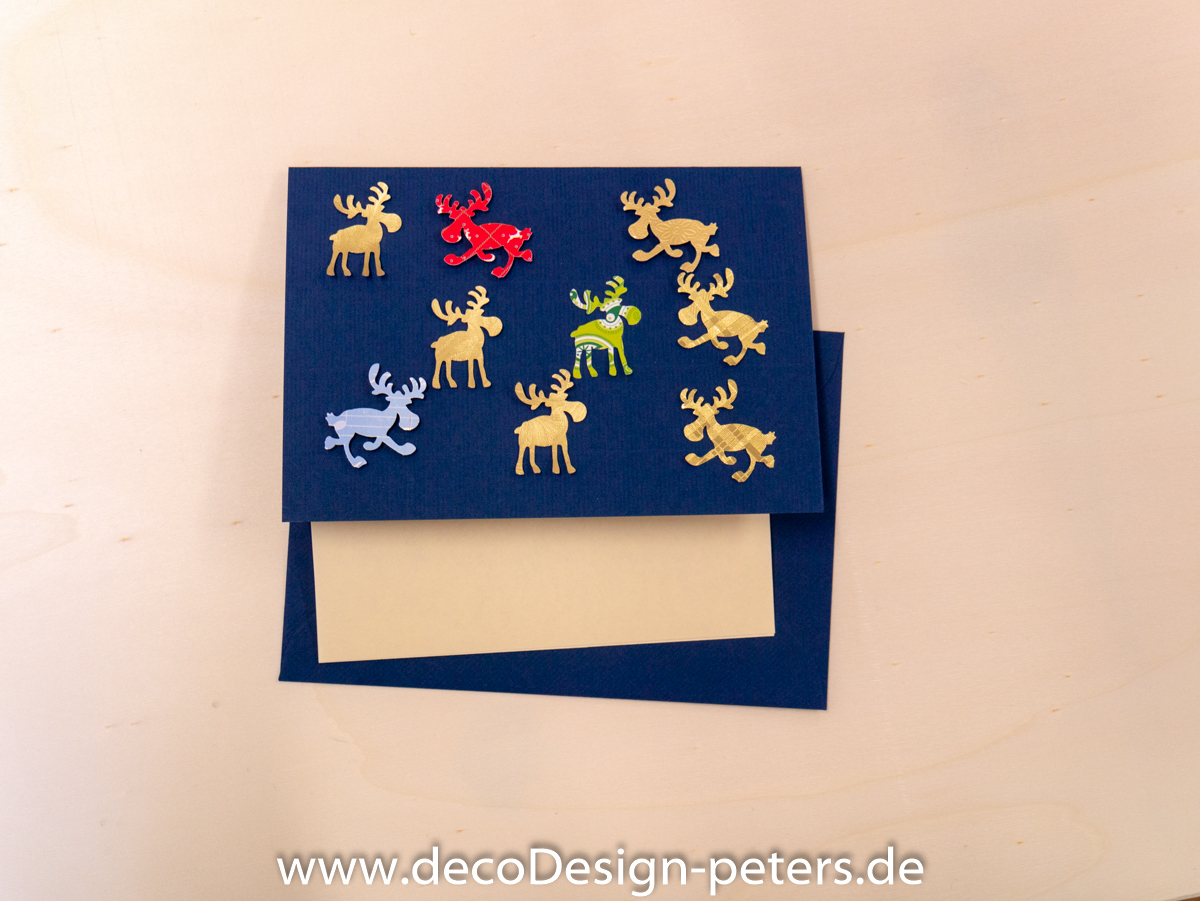 "Weihnachtskarte ""Elche"" blau(c)decoDesign-peters"