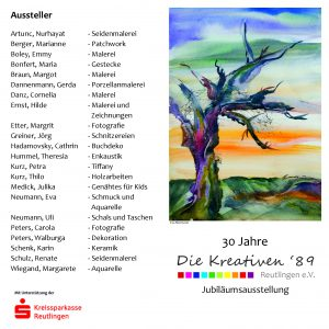 Faltblatt zum Jubiläum der Kreativen 89 - Vorder und Rückseite